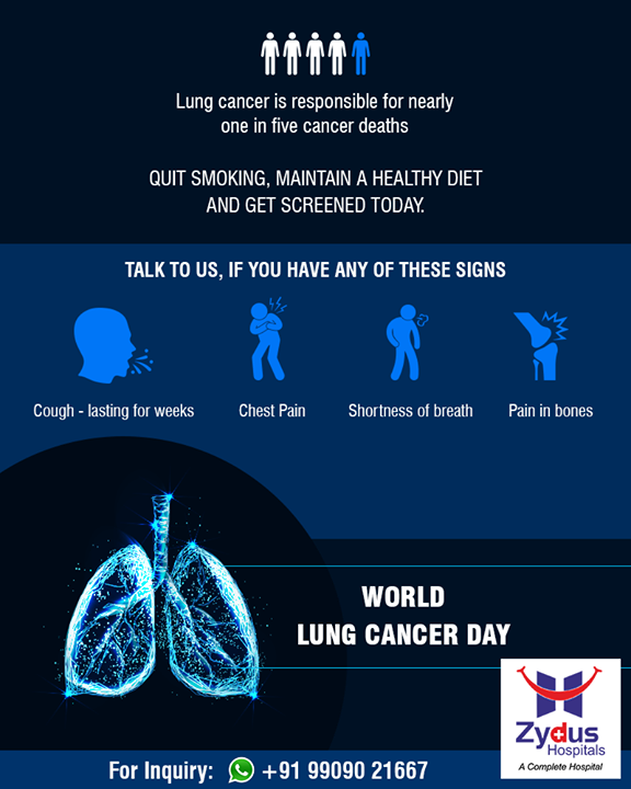 Lung cancer is responsible for nearly one in five cancer deaths. Quit smoking, maintain a healthy diet and get screened today.  #LungCancer #ZydusHospitals #StayHealthy #Ahmedabad #GoodHealth