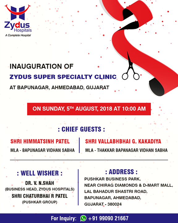 We are glad to share with you about the Inauguration of #ZydusSuperSpecialtyClinic at #Bapunagar, Ahmedabad, Gujarat!  #ZydusHospitals #StayHealthy #Ahmedabad #GoodHealth