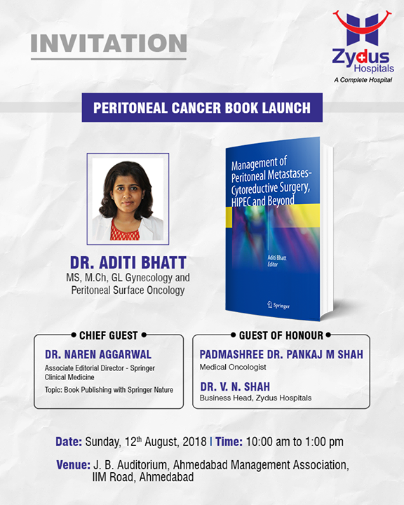 You're invited!   #ZydusHospitals #StayHealthy #Ahmedabad #Gujarat #PeritonealCancer #HIPEC #Cancertreatment