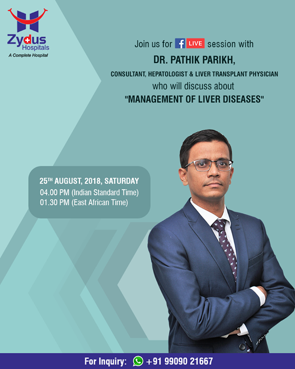 Join us for a #FBLive this Saturday, 25th August with Dr. Pathik Parikh, Consultant, Hepatologist & Liver Transplant Physician who will discuss about