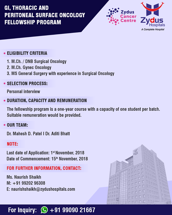 GI, thoracic & peritoneal surface oncology fellowship program!  #ZydusHospitals #Ahmedabad #FellowShipProgram