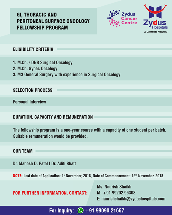 Fellowship program on GI, Thoracic & peritoneal surface oncology!  #ZydusHospitals #StayHealthy #Ahmedabad #GoodHealth