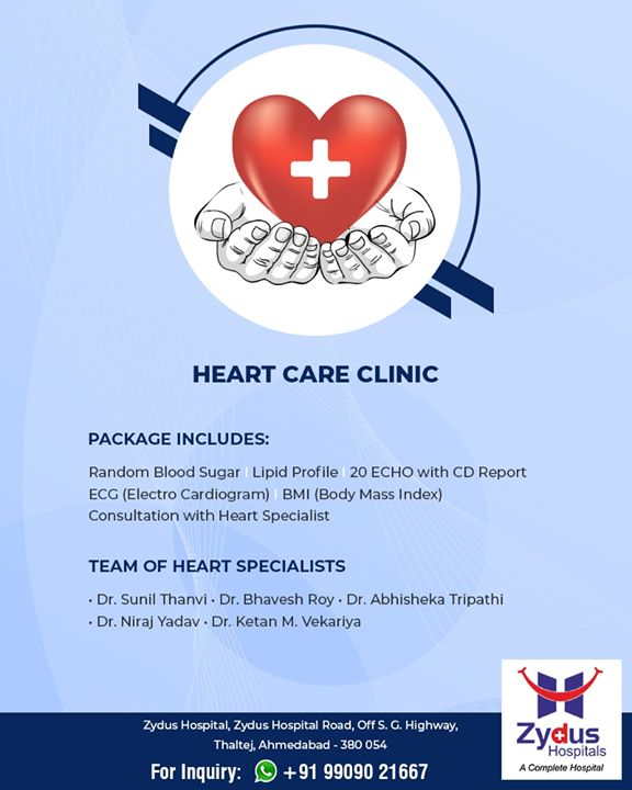 Heart Care Clinic for your healthy heart. #ZydusHospitals #StayHealthy #Ahmedabad