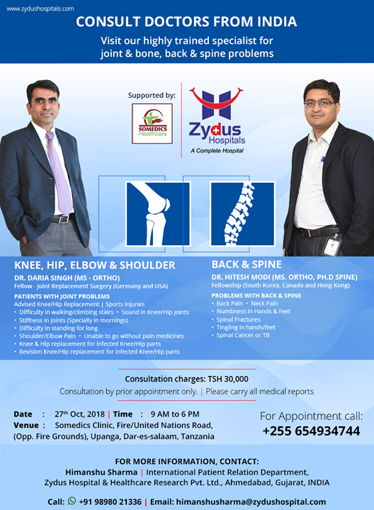 Consult doctors from #India! Visit our highly trained specialists for joint & bone, back & spine problems!  27th Oct @ Tanzania!  #ZydusHospitals #Ahmedabad #GoodHealth #Gujarat