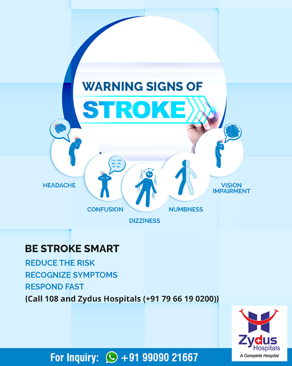 Sharing the warning signs of #stroke on #WorldStrokeDay!  #ZydusHospitals #StayHealthy #Ahmedabad #GoodHealth