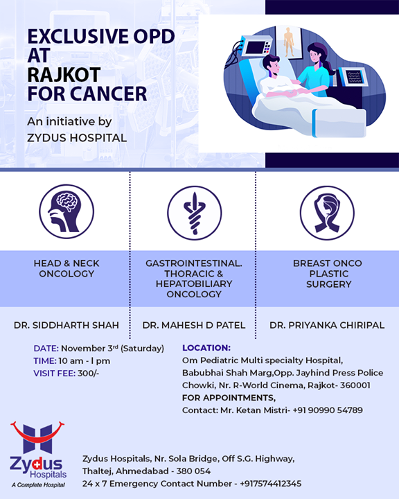 Exclusive #OPD for cancer care by Zydus Hospitals!  #Rajkot #ZydusHospitals #StayHealthy #Ahmedabad #GoodHealth