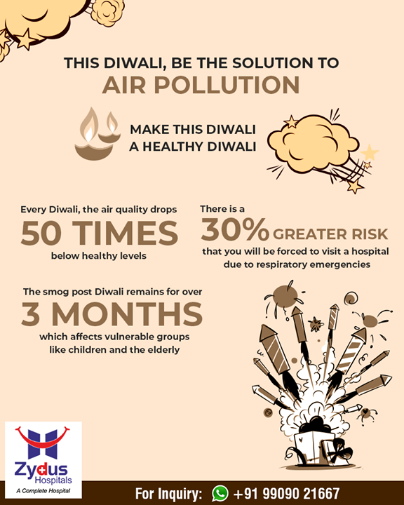 This #Diwali be the solution to #airpollution!   #ZydusHospitals #StayHealthy #Ahmedabad #GoodHealth #GreenDiwali #SafeDiwali