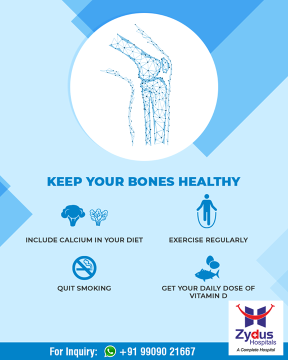 Don't neglect your bone health. Follow these simple tips to keep your bones healthy.  #StayHealthy #ZydusCare #ZydusHospitals #Ahmedabad #Gujarat