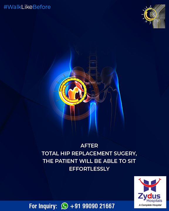 After Total Hip Replacement surgery, the patient will be able to sit effortlessly!  #WalkLikeBefore #HipReplacements #ZydusHospitals #Ahmedabad #Gujarat