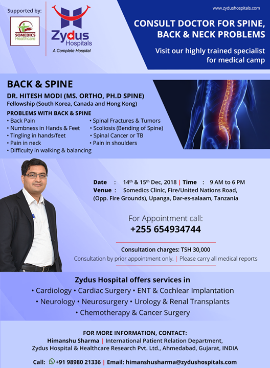 Consult the best doctors for spine, back & neck problems! Camp at Tanzania on 14th & 15th December!  #ZydusHospitals #StayHealthy #Ahmedabad #GoodHealth