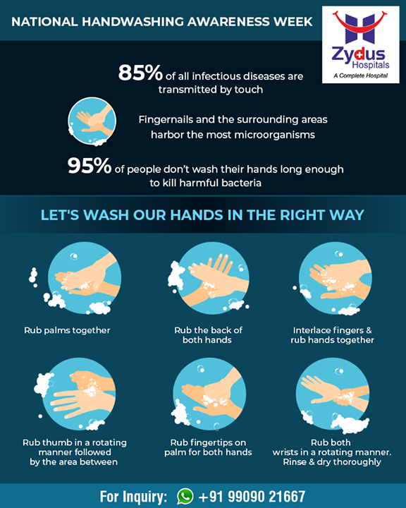 Washing hands holds high importance in personal hygiene!   National handwashing awareness week!  #ZydusHospitals #StayHealthy #Ahmedabad #GoodHealth #Handwashing #NationalHandwashingWeek