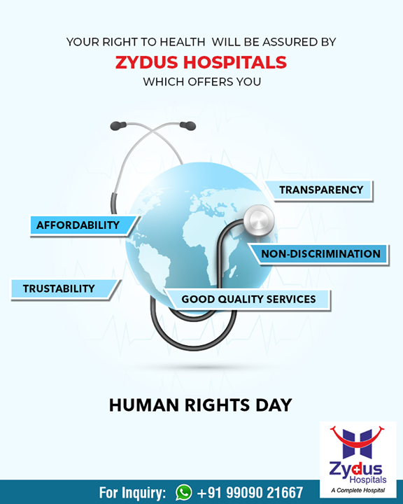 Your Right to health will be assured by Zydus Hospitals  #HumanRightsDay #Rights #HumanRightsDay2018 #ZydusHospitals #StayHealthy #Ahmedabad #GoodHealth