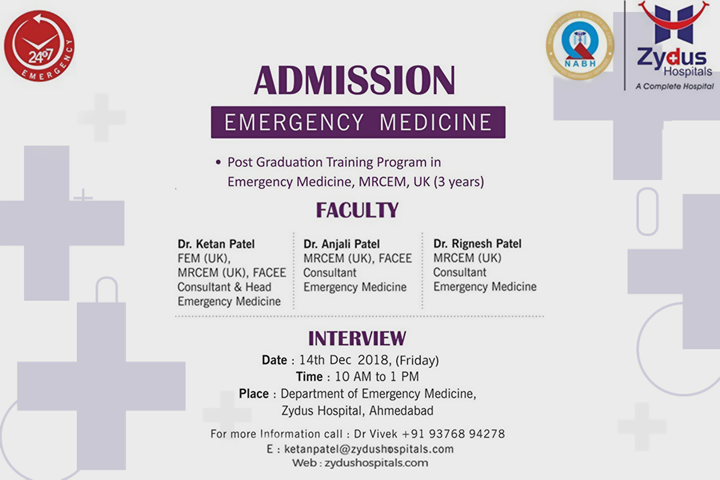 Admissions open for Post graduation training program in Emergency medicine, MRCEM, UK (3years)!  #ZydusHospitals #StayHealthy #Ahmedabad #GoodHealth