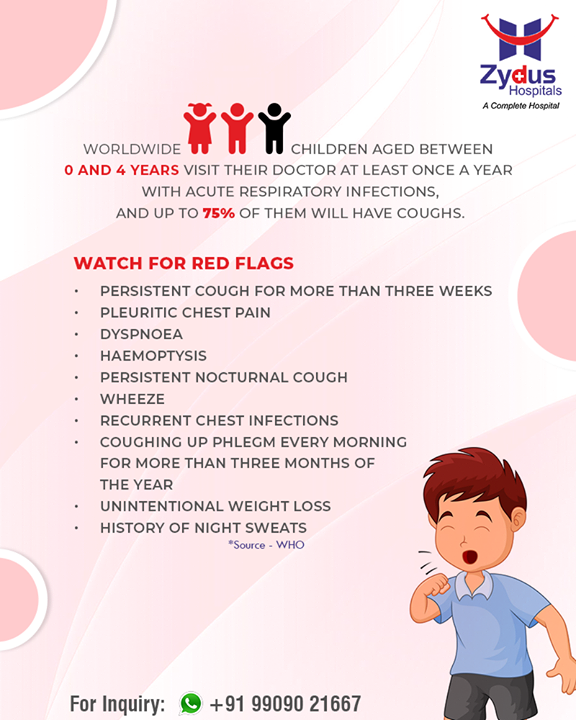 **Did You Know**  Worldwide, 2 out of 3 children aged between 0 and 4 years visit their doctor at least once a year with acute respiratory infections and up to 75% of them will have coughs.  #ZydusHospitals #StayHealthy #Ahmedabad #GoodHealth #KidsHealth