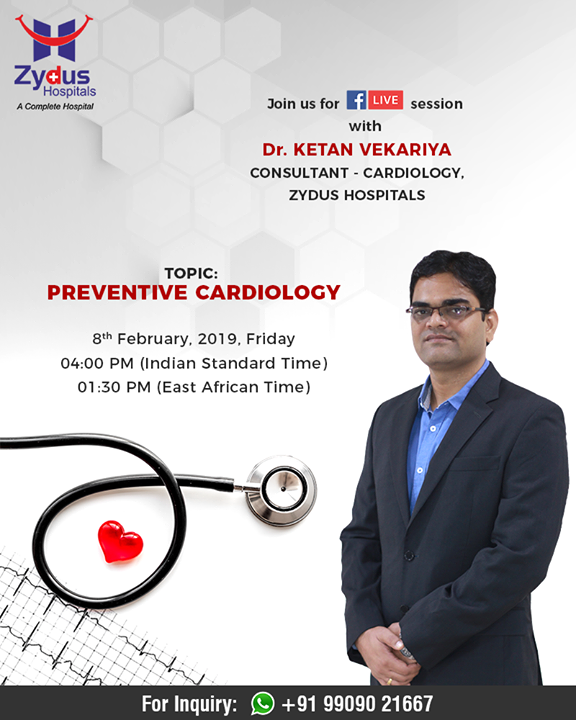 Join Us for FB Live session with Dr. Ketan Vekariya, Consultant - Cardiology, Zydus Hospitals who will discuss on
