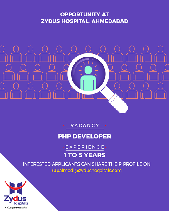 Looking for efficient #PHPdevelopers, tag someone who could be a perfect fit!   #ZydusHospitals #StayHealthy #Ahmedabad #GoodHealth #JobsInAhmedabad