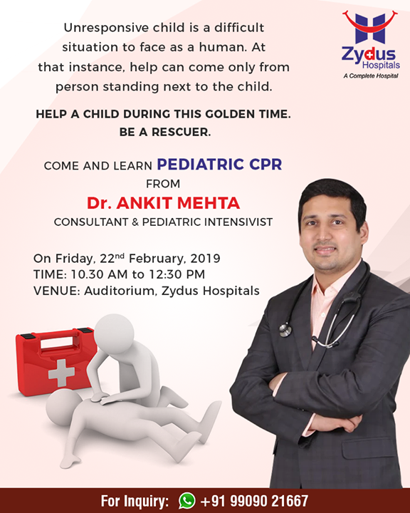 Come & learn Pediatric CPR from Dr. Ankit Mehta at Zydus Hospitals!  Registration is free but mandatory. Register on +91 9914269687  #ZydusHospitals #StayHealthy #Ahmedabad #GoodHealth