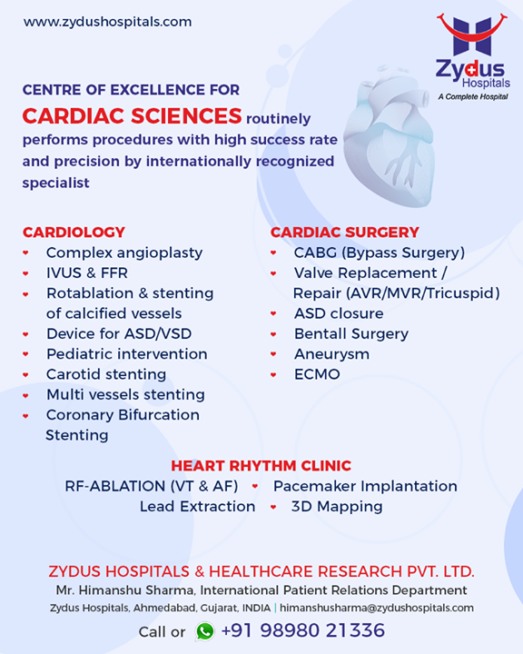 Centre of excellence for cardiac sciences routinely performs procedures with high success rate & precision by internationally recognized specialist!   #ZydusHospital #Ahmedabad #Gujarat #CardiacCare