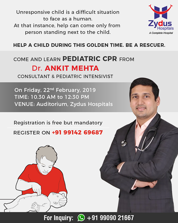Come & learn pediatric CPR from Dr Ankit Mehta! Register today!  #ZydusHospital #Ahmedabad #Gujarat