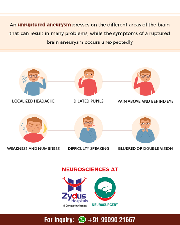 An unruptured aneurysm presses on the different areas of the brain that can result in many problems!   #ZydusHospital #Ahmedabad #Gujarat #Neurosciences