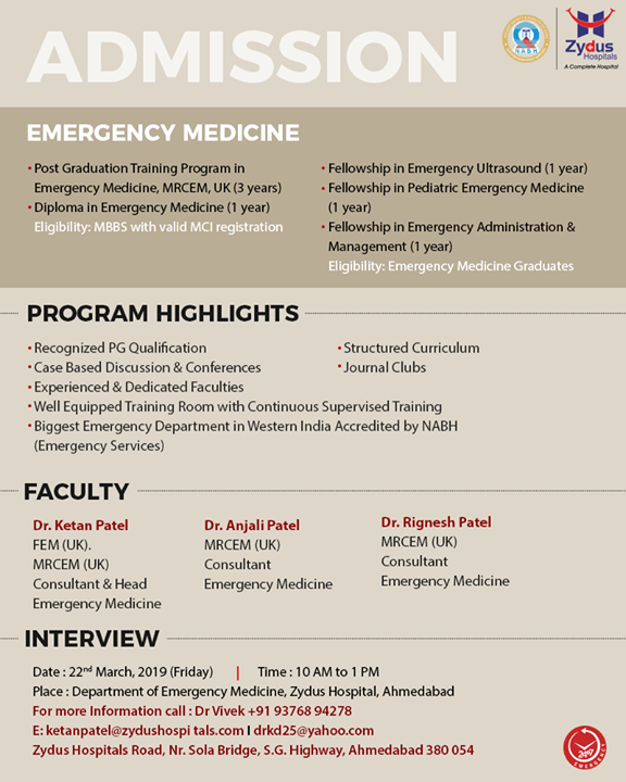 Admission open for emergency medicine!  #ZydusHospitals #Ahmedabad #GoodHealth