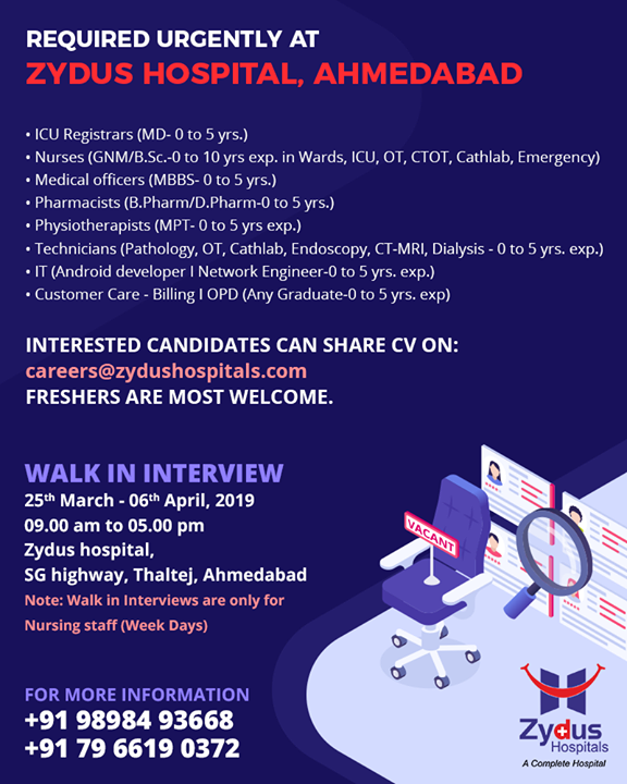 Spread the word.  #ZydusHospitals #Ahmedabad #GoodHealth #WeCare #Jobopenings