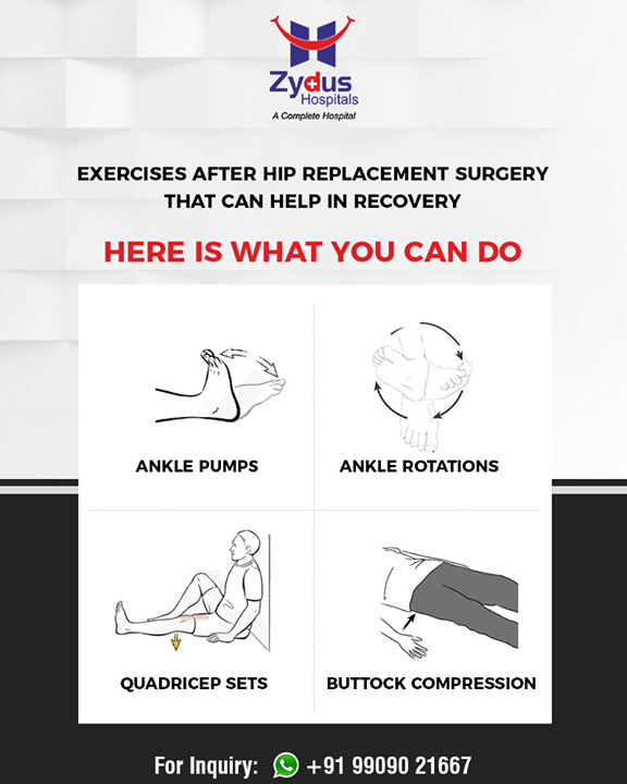 Exercises after Hip Replacement Surgery that can help in quick recovery.  #ZydusHospitals #Ahmedabad #GoodHealth #WeCare