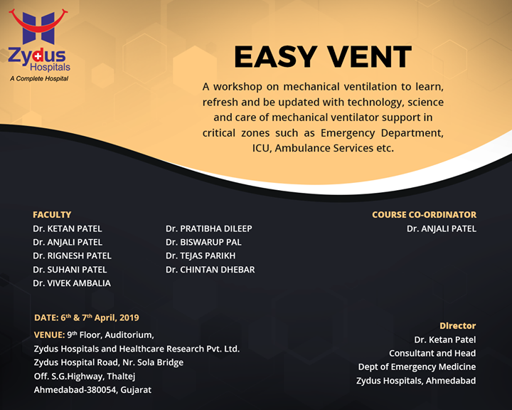 Mechanical ventilation workshop helps to learn and update  with technology, science & care in critical zones such as Emergency Department, ICU, Ambulance services etc.   #VentWorkshop #Ventilator #ZydusHospitals #Ahmedabad #GoodHealth #WeCare
