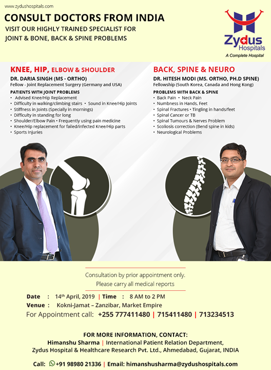 Visit our highly trained specialist for joint & bone, back & spine problems on 14th April at #KokniJamat, #Zanzibar!  #ZydusHospitals #Ahmedabad #GoodHealth #WeCare