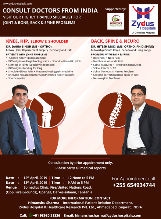 Visit our highly trained specialist for joint & bone, back & spine problems on 12th & 13th April at Somedics clinic @ Dar-es-salaam, #Tanzania!  #ZydusHospitals #Ahmedabad #GoodHealth #WeCare