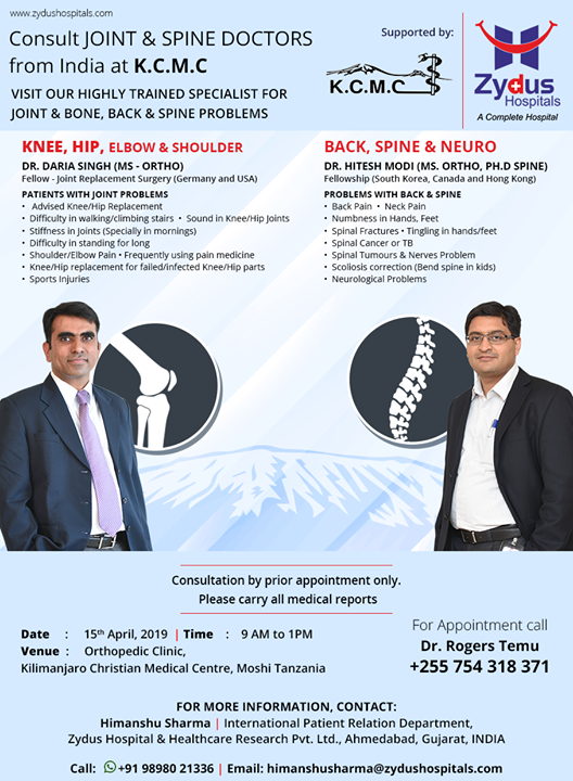 Consult Joint & spine doctors from India at KCMC on 15th April.  #MoshiTanzania #KilimanjaroChristianMedicalCentre #ZydusHospitals #Ahmedabad #GoodHealth #WeCare