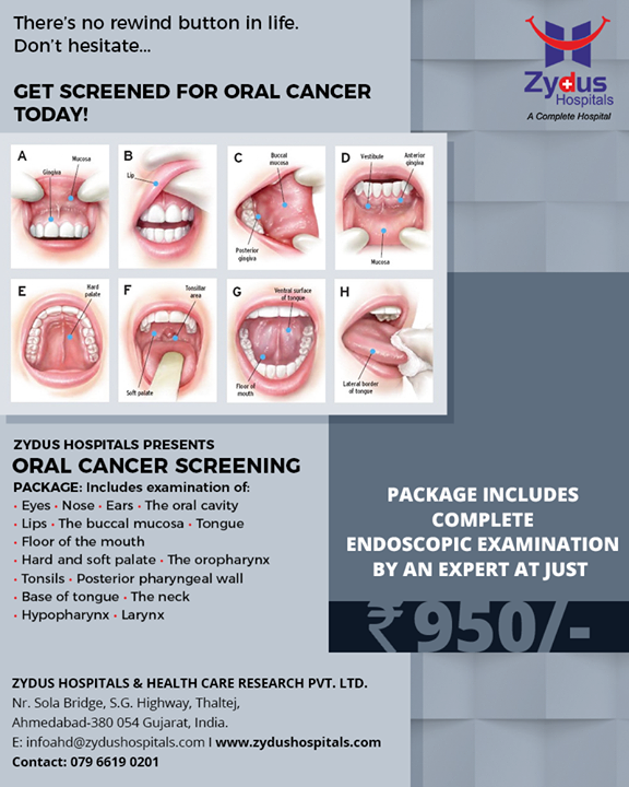 Don't hesitate, get screened for oral cancer today!   #OralCancerScreening #OralCancerAwareness #ZydusHospitals #Ahmedabad #GoodHealth #WeCare