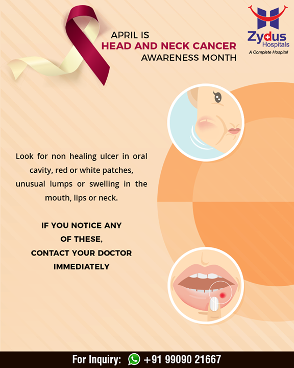 Look for non-healing ulcer in oral cavity, red or white patches, unusual lumps or swelling in mouth, lips or neck!  #OralCancerAwareness #OralCancer #ZydusHospitals #Ahmedabad #GoodHealth #WeCare