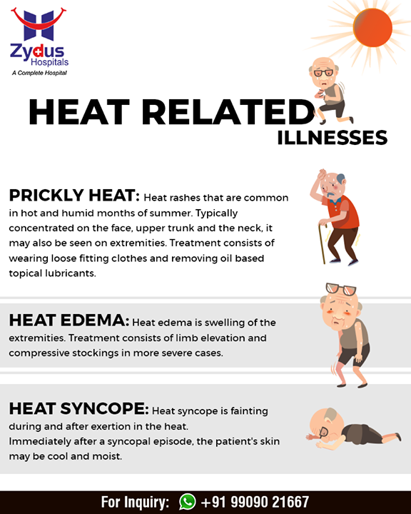 Stay alert during summers against these heat-related illnesses!  #ZydusHospitals #Ahmedabad #GoodHealth #WeCare #HeatStroke #Summer #AhmedabadSummer #SummerCare