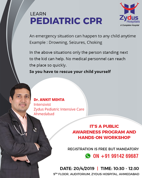 A public awareness program & hands-on workshop on pediatric CPR!  #ZydusHospitals #Ahmedabad #GoodHealth #WeCare