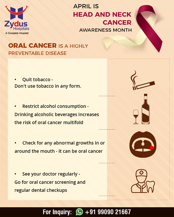 Oral cancer is a highly preventable disease!  #ZydusHospitals #Ahmedabad #GoodHealth #WeCare