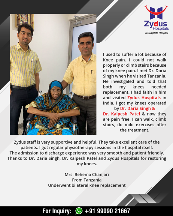 Mrs. Rehema Chanjari from Tanzania who underwent bilateral knee replacement shares her experience!   #ZydusHospitals #StayHealthy #Ahmedabad #GoodHealth #RealPeopleRealStories #kneesurgery #kneereplacement #jointreplacement #truealignkneesurgery