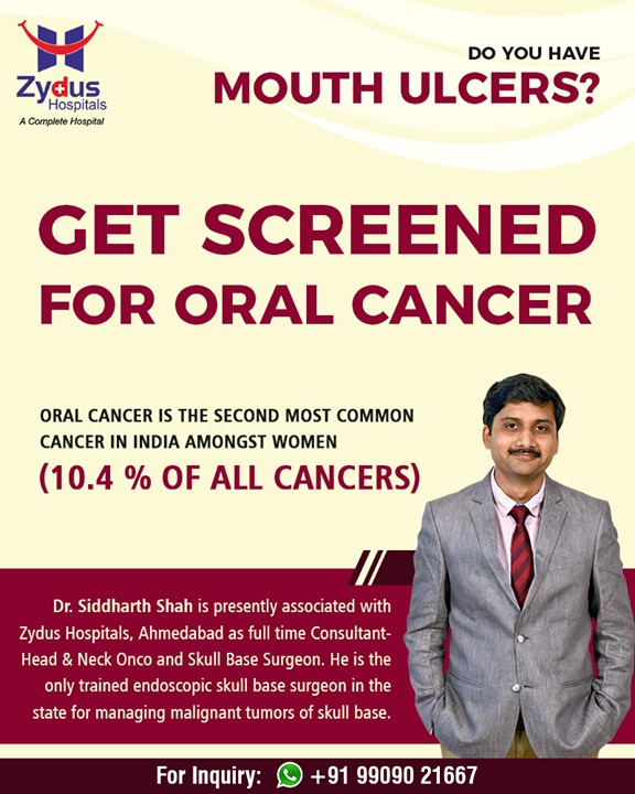 Do you have mouth ulcers?  Get screened for oral cancer  #OralCancer #ZydusHospitals #StayHealthy #Ahmedabad #GoodHealth