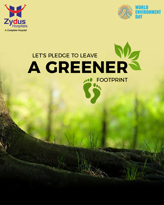 Let's pledge to leave a greener footprint.  #WorldEnvironmentDay #EnvironmentDay #SaveEnvironment #PledgeGreen #ZydusHospitals #StayHealthy #Ahmedabad #GoodHealth #WeCare #ReduceReuseRecycle #Shunplastics #Carbonfootprint