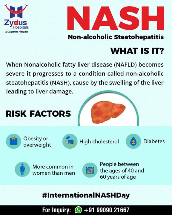#DidYouKnow?  #NASH are at a much higher risk of serious consequences including cirrhosis, cancer, and liver failure.   #InternationalNASHDay #NASHDay #ZydusHospitals #StayHealthy #Ahmedabad #GoodHealth