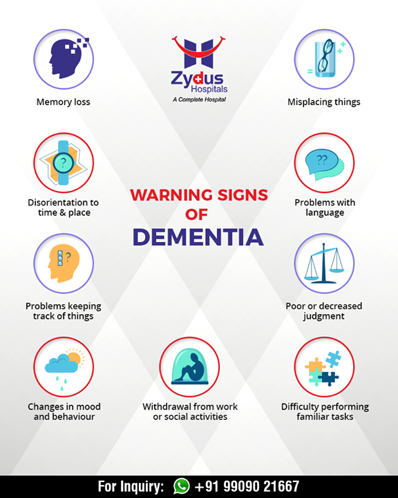 Warning sign of Dementia.  #AlzheimerAndBrainDisorderAwarenessMonth #Alzheimer #BrainDisorder #dementia #neurology #ZydusHospitals #StayHealthy #Ahmedabad #GoodHealth