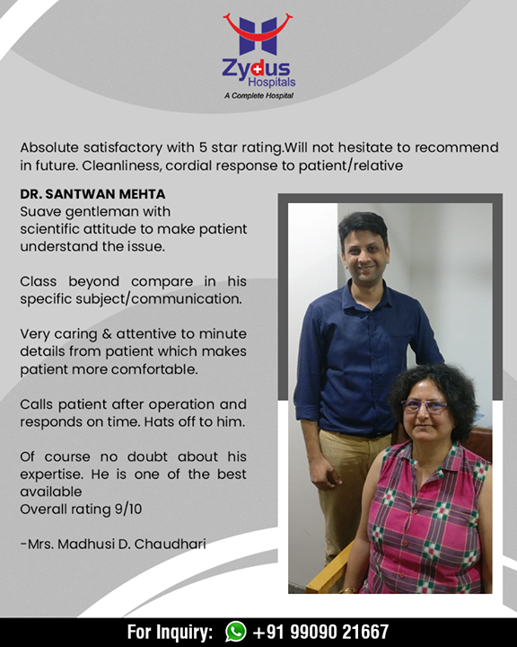 It's heartwarming to receive such beautifully optimistic feedback from our patients.   #PatientFeedback #ZydusHospitals #Ahmedabad #RealPeopleRealStories #PatientTestimonial  #StayHealthy #GoodHealth