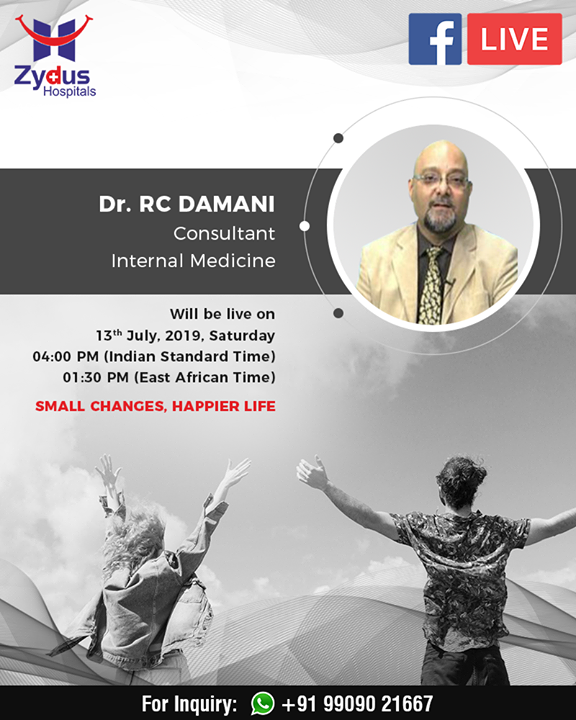 Join us for a #Facebook Live session with Dr. RC Damani, Consultant - Internal Medicine  #FBLive #ZydusHospitals #InternalMedicine #StayHealthy #Ahmedabad #GoodHealth