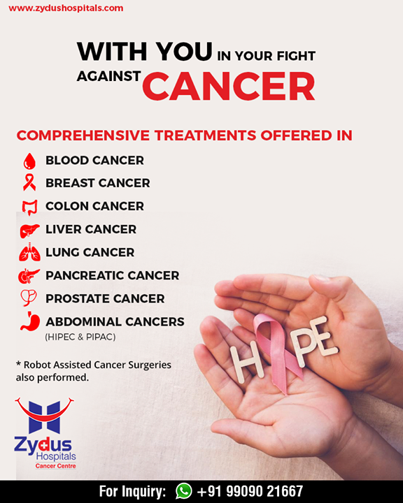 Zydus Hospitals offers you comprehensive treatments against cancer that aid you & your morale in the fight against cancer!  #CancerCare #ExcellentCancerCare #ZydusHospitals #StayHealthy #Ahmedabad #GoodHealth