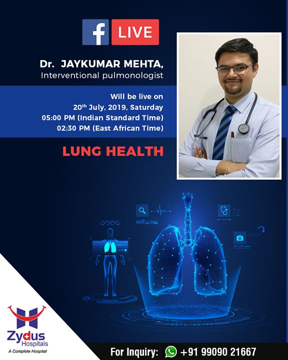 Join us for a #Facebook Live session with Dr. Jaykumar Mehta, Interventional pulmonologist and learn about #Lung Health  #FBLive #FacebookLive #ZydusHospitals #LungHealth #StayHealthy #Ahmedabad #GoodHealth