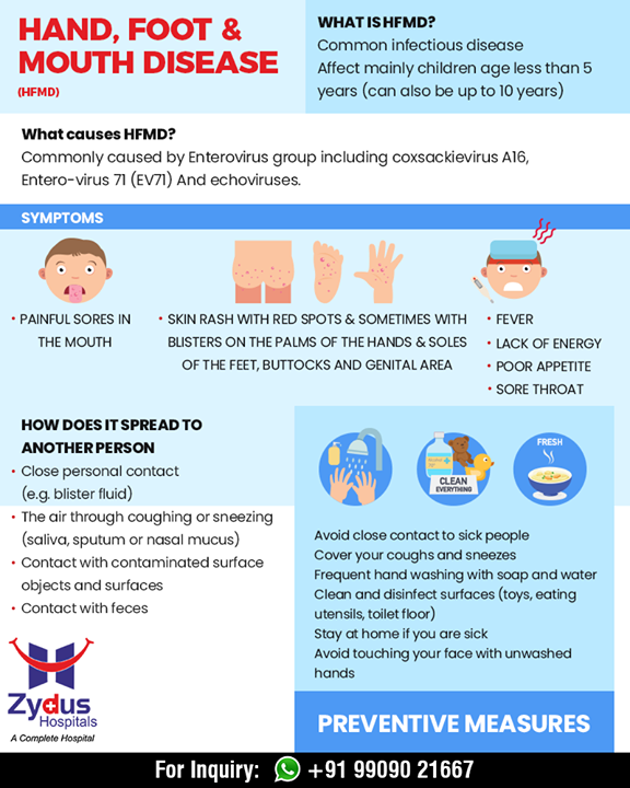 Hand, foot & mouth disease if a common infectious disease that affects children less than 5years of age! Read & share these symptoms to spread awareness! Consult a peadiatrician and avoid self medication  #MouthDisease #HandDisease #FootDisease #ZydusHospitals #StayHealthy #Ahmedabad #GoodHealth #ZydusCares #peadiatriccare #peadiatrics