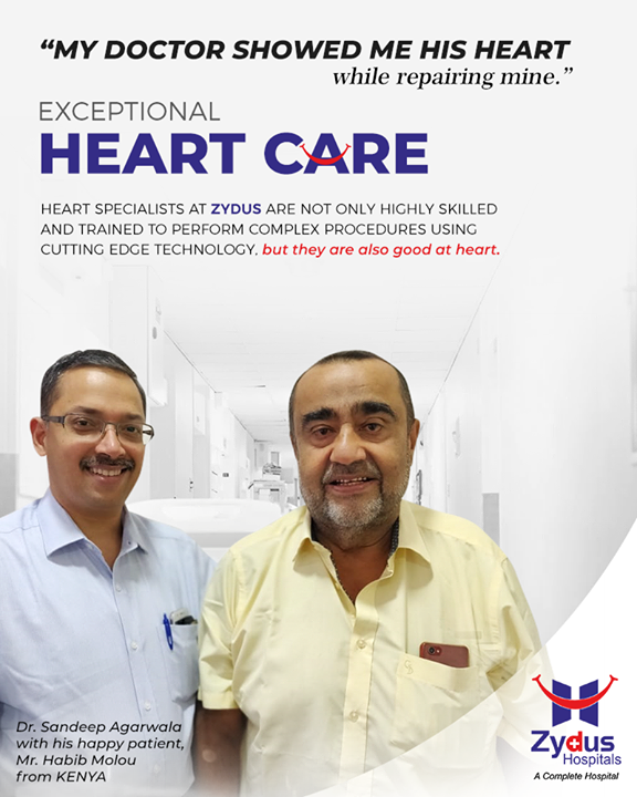 We believe in keeping your heart in exceptional hands, quality heart care that is just a heartbeat away! It's heartening to see our patients return just to say a warm hello to their doctor.  #RealPeopleRealStories #ZydusHospitals #StayHealthy #Ahmedabad #GoodHealth #ZydusCares #CardiacCare #HeartCare #GoodHeartCare #emergencyheartcare #heartsurgery #cardiacangioplasty #ctangiography #heartbypasssurgery