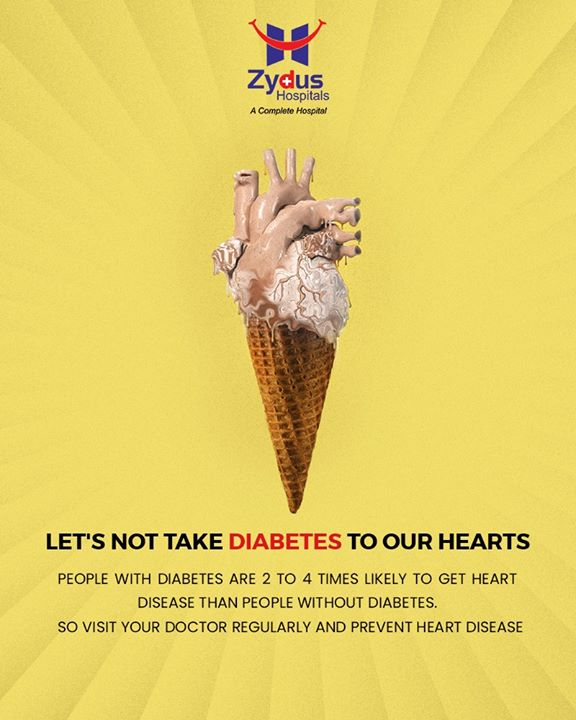 Did you know, Diabetes makes you more prone to heart disease! Over time, high blood glucose from diabetes can damage your blood vessels and the nerves that control your heart and blood vessels. The longer you have diabetes, the higher the chances that you will develop heart disease!  #DidYouKnow #Diabetes #HeartCare #HeartDisease #GoodHeartCare #ZydusHospitals #StayHealthy #Ahmedabad #GoodHealth #ZydusCares