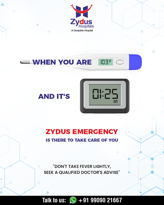 Your body temperature is indicative of your health, whether it's midnight or anytime of the day Zydus Emergency is there to take care of you.  #ZydusHospitals #StayHealthy #Ahmedabad #GoodHealth #ZydusCares #ZydusEmergency