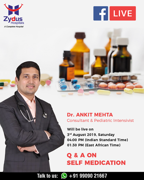 Self-medication is the use of drugs to treat self-diagnosed disorders or symptoms or the intermittent or continued use of prescribed drug for chronic or recurrent disease or symptoms, and it is mostly common in developing countries.  Self-medication is a serious subject to ponder on, it can be dangerous and jeopardize your health. Join us for an informative FB live with Dr. Ankit Mehta on 3rd August.  #FBLive #FacebookLive #ZydusHospitals #SelfMedication #StayHealthy #Ahmedabad #GoodHealth #dangersofselfmedication
